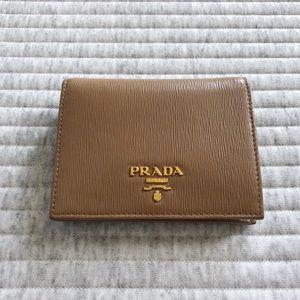 PRADA Vitello Bifold Wallet in Tan